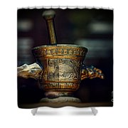 Pharmacy Brass Mortar And Pestle With Eagle Handles Shower Curtain