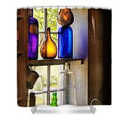 Pharmacy - Colorful Glassware  Shower Curtain by Mike Savad