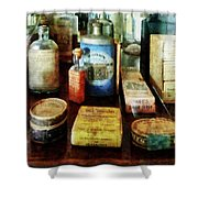 Pharmacy - Cough Remedies And Tooth Powder Shower Curtain