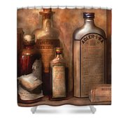 Pharmacy - Indigestion Remedies Shower Curtain by Mike Savad