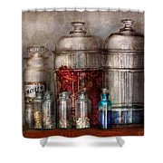 Pharmacy - Mysterious Pebbles Powders And Liquids Shower Curtain