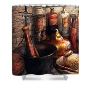 Pharmacy - Pestle - Pharmacology Shower Curtain by Mike Savad