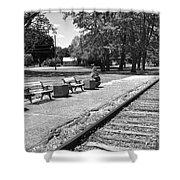 Phelps Ny Train Station In Black And White Shower Curtain