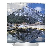 Phi Kappa Mountain Reflected In River Shower Curtain