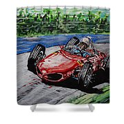 Phil Hill At Nurburgring. Shower Curtain