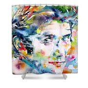 Phil Ochs - Watercolor Portrait Shower Curtain