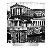 Philadelphia Art Museum At The Water Works In Black And White Shower Curtain