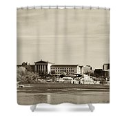 Philadelphia Art Museum With Cityscape In Sepia Shower Curtain