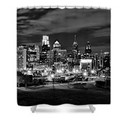 Philadelphia Black And White Cityscape Shower Curtain