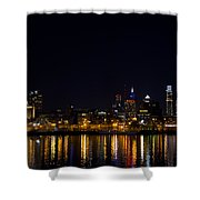Philadelphia - Bright Lights Big City Shower Curtain by Bill Cannon