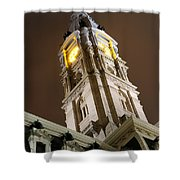 Philadelphia City Hall Clock Tower At Night Shower Curtain by Gary Whitton