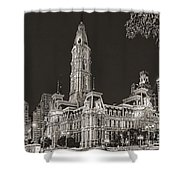 Philadelphia City Hall Mono Shower Curtain