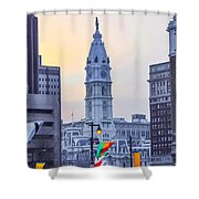 Philadelphia Cityhall In The Morning Shower Curtain