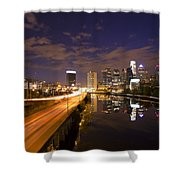 Philadelphia Cityscape From South Street At Night Shower Curtain