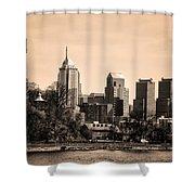 Philadelphia Cityscape In Sepia Shower Curtain