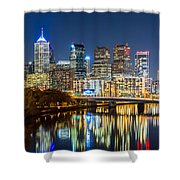 Philadelphia Cityscape Panorama By Night Shower Curtain