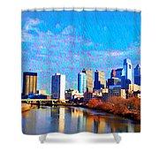 Philadelphia Cityscape Rendering Shower Curtain