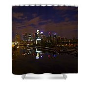 Philadelphia From South Street At Night Shower Curtain by Bill Cannon
