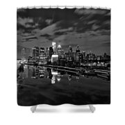 Philadelphia From South Street At Night In Black And White Shower Curtain