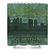 Philadelphia Pennsylvania Skyline Art On Distressed Wood Boards Shower Curtain