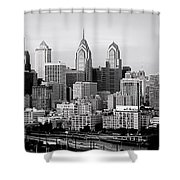 Philadelphia Skyline Black And White Bw Pano Shower Curtain