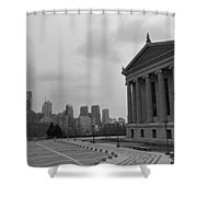 Philadelphia Skyline Black And White Shower Curtain