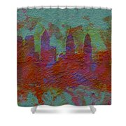 Philadelphia Skyline Brick Wall Mural Shower Curtain