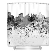Philadelphia Skyline In Black Watercolor On White Background Shower Curtain