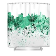 Philadelphia Skyline In Green Watercolor On White Background Shower Curtain