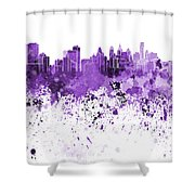 Philadelphia Skyline In Purple Watercolor On White Background Shower Curtain