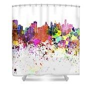 Philadelphia Skyline In Watercolor On White Background Shower Curtain
