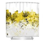 Philadelphia Skyline In Yellow Watercolor On White Background Shower Curtain