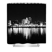 Philadelphia Skyline Panorama In Black And White Shower Curtain