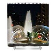 Philadelphia - Swann Fountain - Night Shower Curtain by Bill Cannon