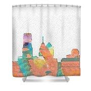 Philadelphia Watercolor Cityscape Shower Curtain