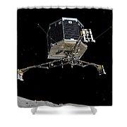Philae Lander Descending To Comet 67pc-g Shower Curtain
