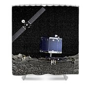Philae Lander On Surface Of A Comet Shower Curtain