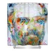 Philip K. Dick Watercolor Portrait.2 Shower Curtain