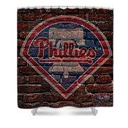 Phillies Baseball Graffiti On Brick  Shower Curtain by Movie Poster Prints