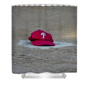 Phillies Hat On Home Plate Shower Curtain