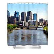 Philly Bridges Buildings Shower Curtain