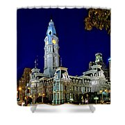 Philly City Hall At Night Shower Curtain