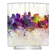 Phoenix Skyline In Watercolor Background Shower Curtain