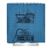 Phonograph Blueprint Patent Drawing Shower Curtain