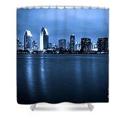 Photo Of San Diego At Night Skyline Buildings Shower Curtain