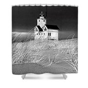 Photograph Of The Lighthouse Big Red In Holland Michigan Shower Curtain