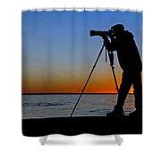 Photographer At Sunset Shower Curtain