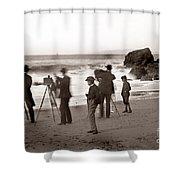 Photographer On The Beach California  Circa 1887 Shower Curtain
