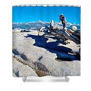Photographer On Top Of Sentinel Dome In Yosemite Np-ca  Shower Curtain