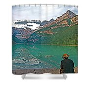 Photographers At Lake Louise In Banff National Park-ab Shower Curtain